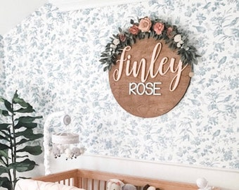 Nursery Name Sign, 12-36 Inch, Baby Shower, Personalized Round plaque, Customize Wood Baby Sign, 3D Letters, Floral Inspired Nursery Theme
