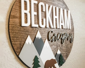 Woodland Theme Nursery Name Sign   Newborn Nursery Name Sign with Mountains   Mountain Nursery Decor   Unique Baby Shower Gift for New Mom