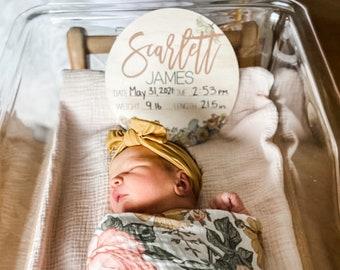 Baby Birth Stat Sign | Personalized Birth Announcement | Printed Newborn Birth Stat | Newborn Keepsake | Name Announcement | Hospital Sign