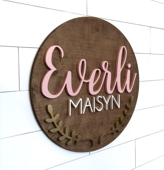 Round Down Syndrome T21 Name Sign 18-24 Inch Kids Name Sign Custom Wood Sign Nursery Decor 3D Letters