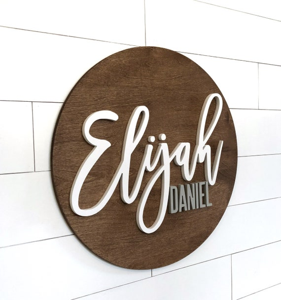 30 Nursery Wood Name Sign Round Plaque Large Sign Crib Sign Baby Wall Art