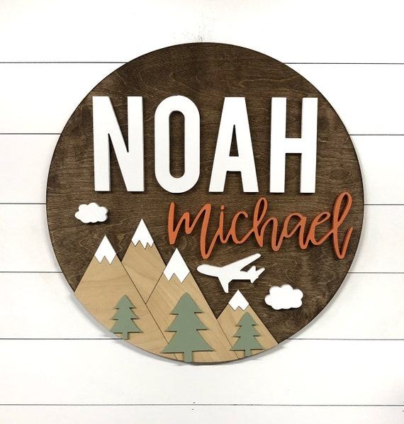 Wooden Wood Sign Nursery Wall Art Hex Mountain Sign Adventure theme Outdoor Nursery Room Decor 18-36 Inch Baby Shower Gift