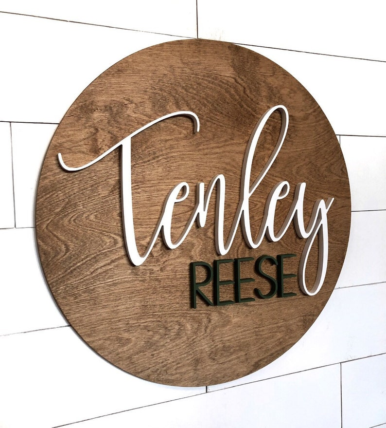 24 Round Name Sign Above The Crib Sign Kids Sign Decor Baby Wall Art Wooden Name Cutout 3d Nursery Decor Wood Name Sign Baby