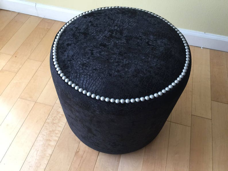 Remarkable Art Furniture Exclusive Round Black Crocodile Velvet Silver Pearl Nailheads Ottoman Creative Stool Chair Pouf Custom Made In Usa Gmtry Best Dining Table And Chair Ideas Images Gmtryco