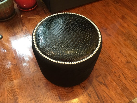 Terrific Art Furniture Exclusive Round Black Crocodile Velvet Vinyl Brushed Nickel Nailheads Ottoman Creative Stool Chair Pouf Custom Made In Usa Gmtry Best Dining Table And Chair Ideas Images Gmtryco