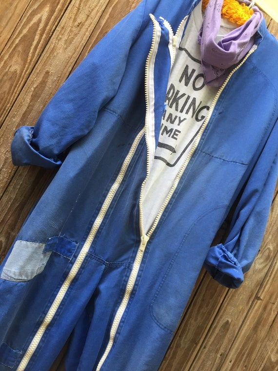 Vintage 70's distressed workwear overall jumpsuit