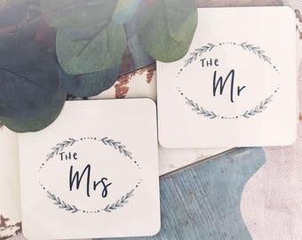 The Mrs and The Mr Coaster Set - Saying Coasters- Wedding