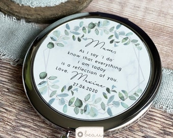 Personalised Mother of Bride Groom As I say 'I do' from Bride Groom Quote Geometric Greenery Silver Compact Mirror Wedding Gift