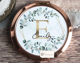 Personalised Initial and Name Geometric Greenery Round Rose Gold Compact Mirror Wedding Bridesmaid Gift