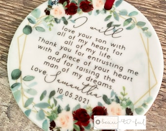 Personalised Mother of Groom Bride Thank you from Bride Groom Quote Burgundy Floral Ceramic Round Decoration Ornament Wedding Keepsake