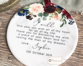 Personalised Mother of Groom Bride Thank you from Bride Groom Quote Navy Burgundy Floral Ceramic Round Decoration Ornament Wedding Keepsake