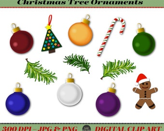 Christmas Tree Ball Ornaments Clip Art Premade Art Instant Etsy