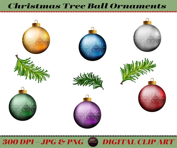 Christmas Tree Ball Ornaments Clip Art, Premade Art, Instant Download - Christmas Tree Ball Ornaments Clip Art Premade Art Instant Etsy