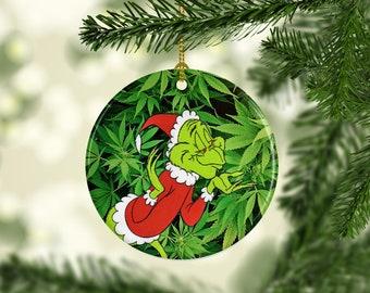 porcelain marijuana pot leaf grinch christmas ornament marijuana pot leaf cannabis 420 themed custom christmas ornaments - Grinch Christmas Ornaments