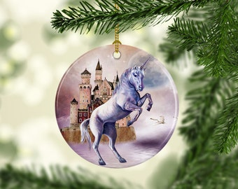 unicorn christmas tree ornaments porcelain custom christmas decorations fantasy themed unique christmas gifts
