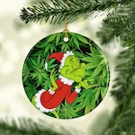 Marijuana Pot Leaf Porcelain Christmas Ornaments, Stoner Headshop Christmas Tree Ornaments, Keepsake Gifts