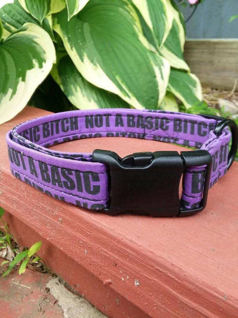 Dog Collar Basic Bitch Purple  Adjustable Custom Fabric Pet image 0