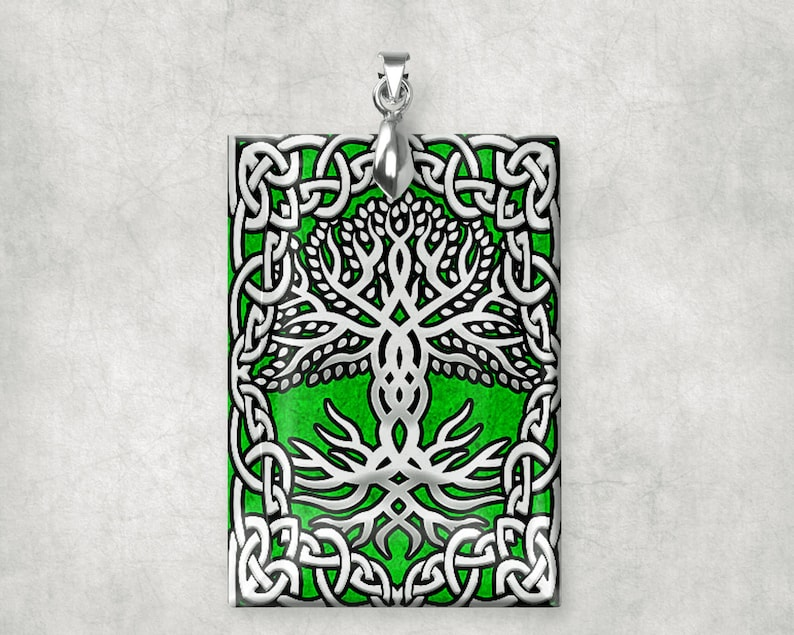 Irish Celtic Glass Crystal Charm Pendant Large Rectangle image 0