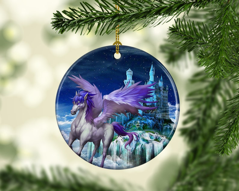 Porcelain Pegasus Christmas Tree Ornament Mystical Fantasy image 0