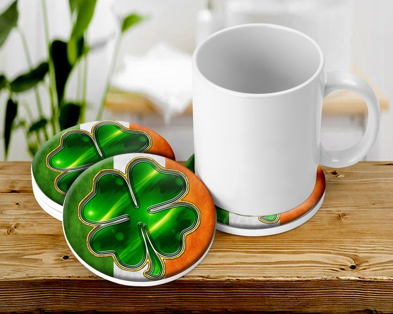 Irish Shamrocks Coaster Set Saint Patrick's Day Table image 0