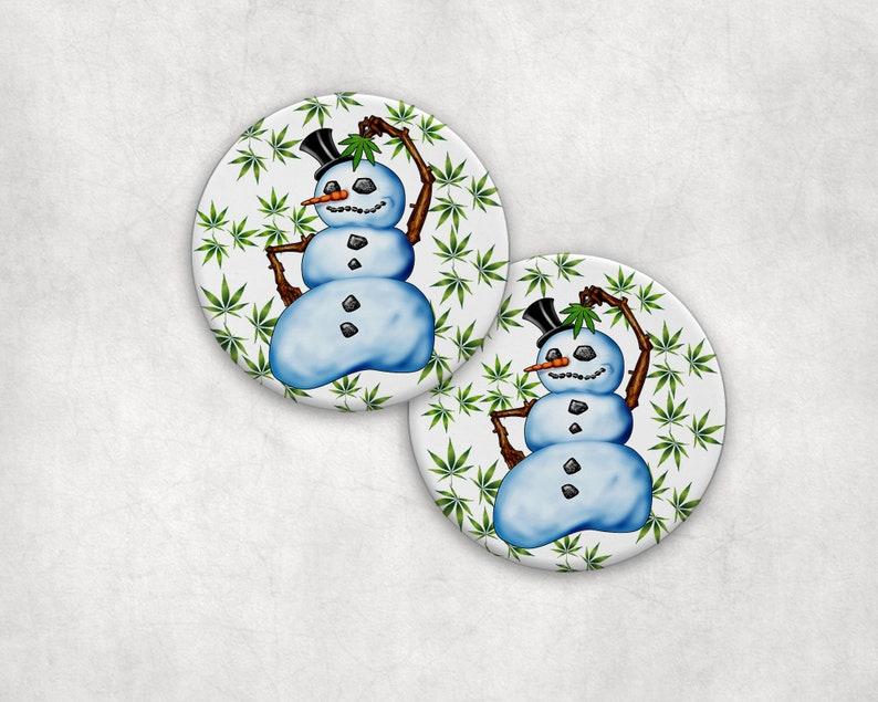 Drink Coaster Set Frosty Snowman Absorbent Ceramic Drink or image 0