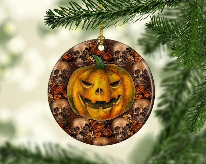 Halloween Tree Porcelain Ornament Skull Primitive Pumpkin image 0