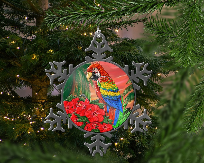 Pewter Parrot Hibiscus Flowers Snowflake Christmas Tree Ornament Unique Tropical Beach House Decor and Gifts