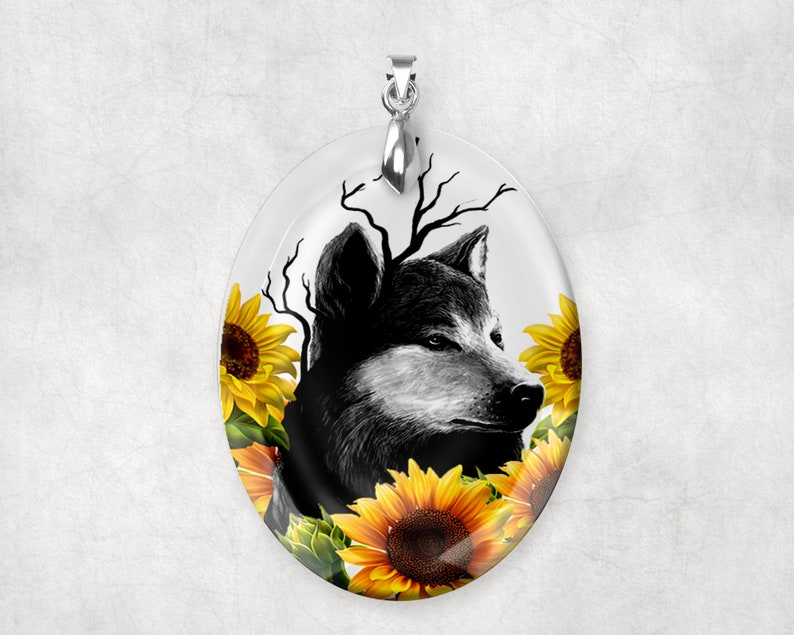 Crystal Glass Wolf with Sunflowers Large Pendant Charm image 0