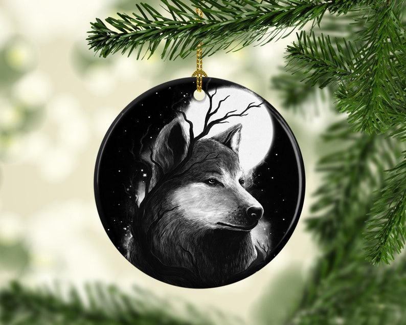 Porcelain Christmas Tree Ornaments Silver Wolf Moon  image 0