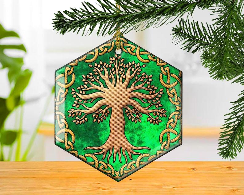 Celtic Tree Decorative Glass Christmas Ornament Irish Knots image 0