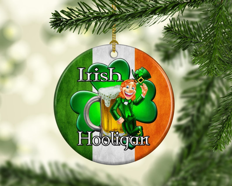 Porcelain Irish Hooligan Christmas Tree Ornament Unique Irish image 0