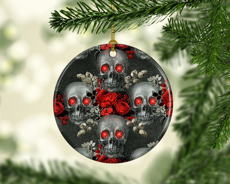 Halloween Tree Porcelain Ornament Gothic Evil Skulls Unique image 0