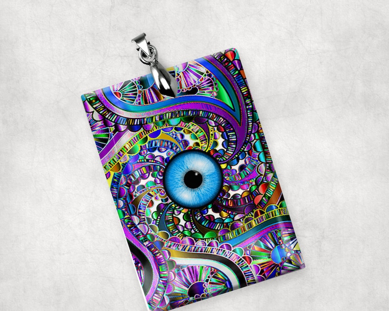 Glass Crystal Eye Charm Pendant Large Rectangle Unique image 0