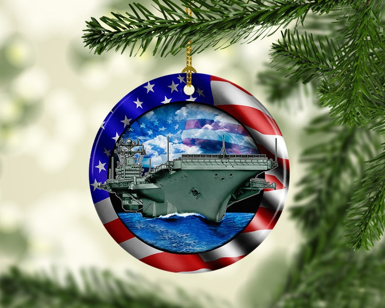 Porcelain Us Navy Custom Christmas Tree Ornament Usa Aircraft Carrier Xmas Ornaments