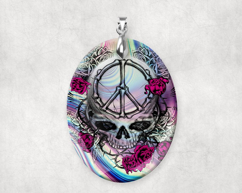 Crystal Glass Peace Skull with Roses Large Pendant Charm image 0