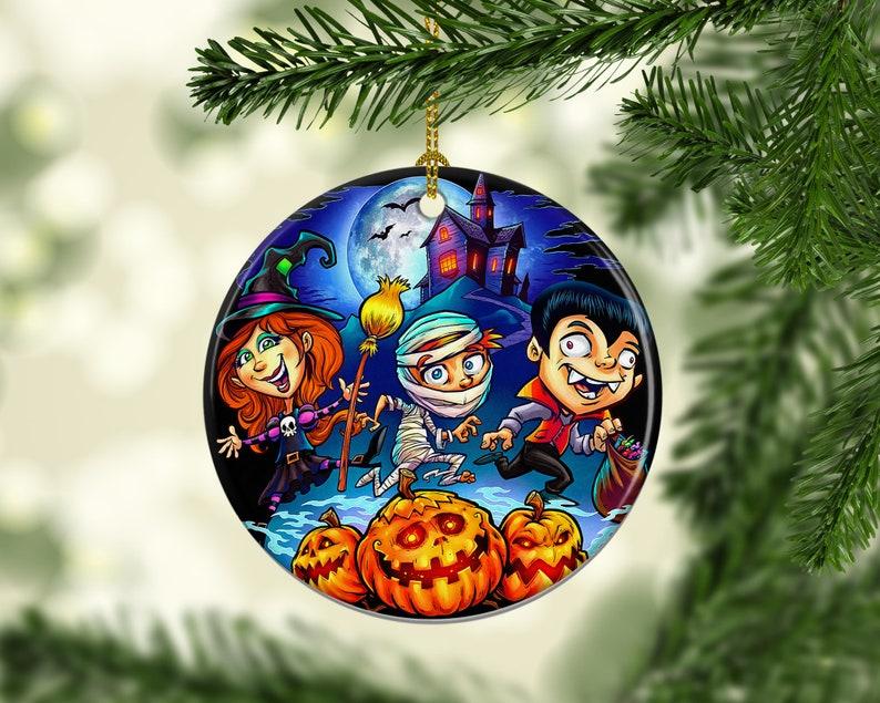 Halloween Tree Porcelain Ornaments Trick or Treat Keepsake image 0
