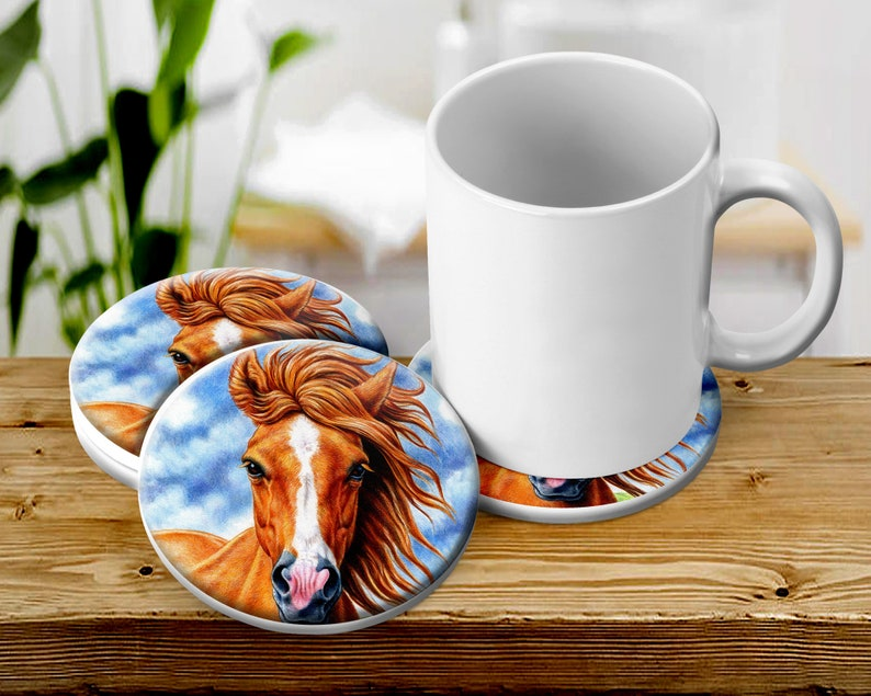 Country Horse Coaster Set Country Table Decor Absorbent image 0