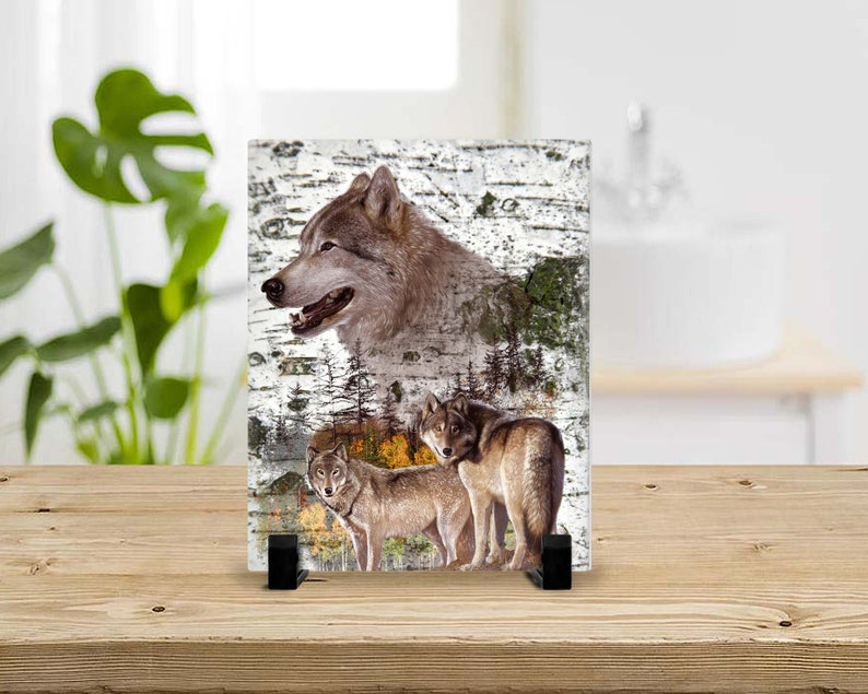 Rustic Wolf Pack Glass Photo Print 8x10 Glass Home Wall image 0