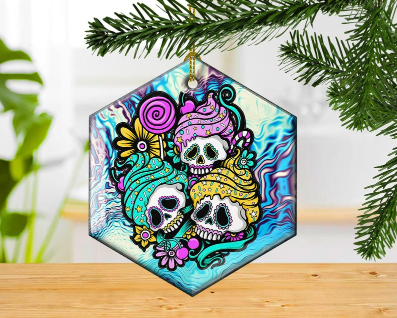 Sugar Skull Cup Cakes Decorative Glass Christmas Ornament image 0