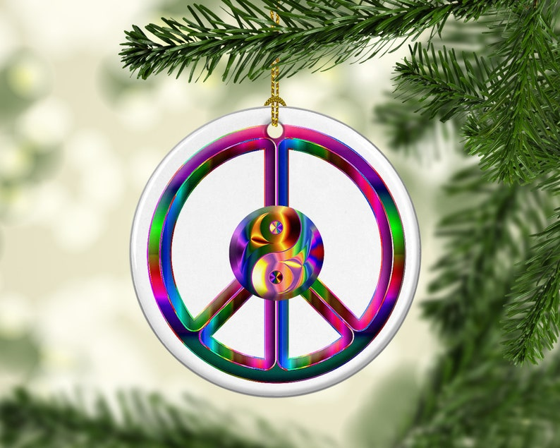 Porcelain Yin Yang Peace Christmas Tree Ornament Psychedelic image 0