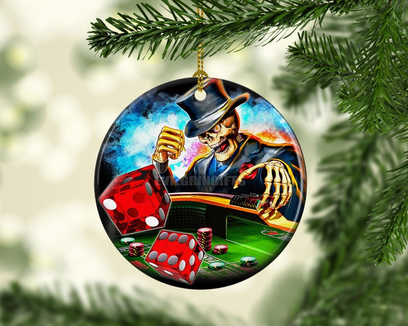 Porcelain Skull Casino Christmas Ornaments Las Vegas Craps image 0
