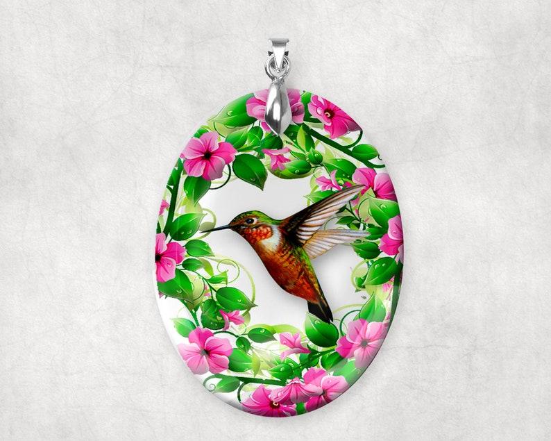 Crystal Glass Hummingbird Large Pendant Charm Alternative image 0