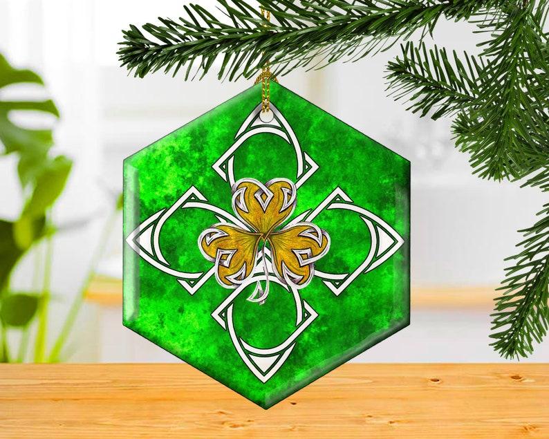 Celtic Shamrock Decorative Glass Christmas Ornament Irish image 0