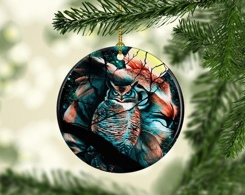 Porcelain Night Owl Christmas Tree Ornament Unique Keepsake image 0