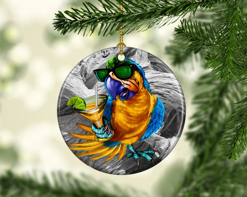 Porcelain Parrot Margarita Christmas Tree Ornament Beach Ocean image 0