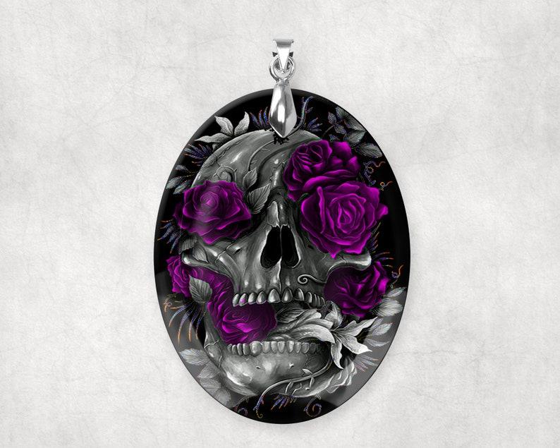 Gothic Crystal Sugar Skull Purple Roses Large Pendant Charm image 0