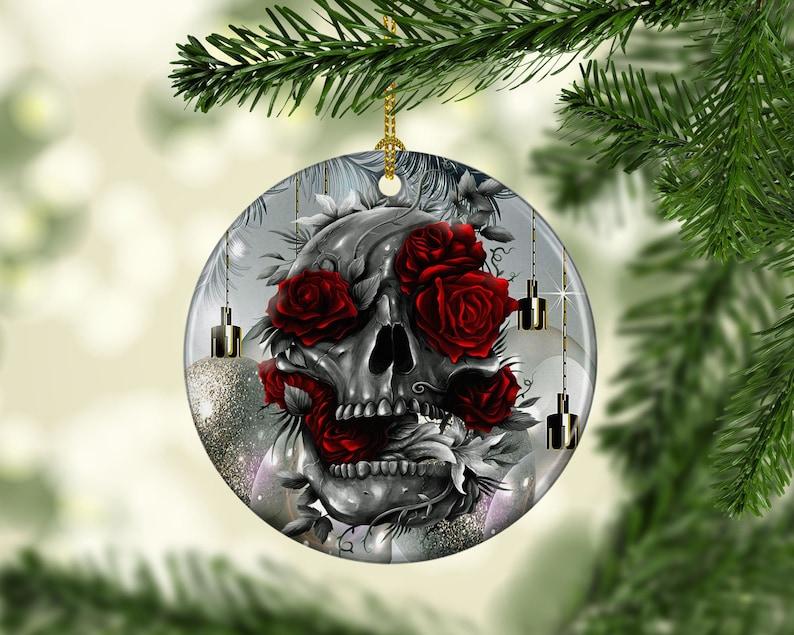 Porcelain Skull Red Roses Christmas Tree Ornament Gothic image 0