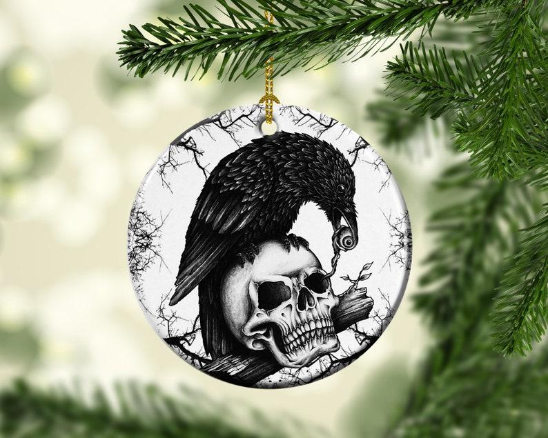 Halloween Tree Porcelain Ornaments Crow Skull Eating image 0