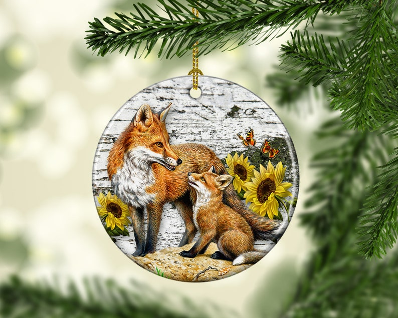Porcelain Fox Christmas Tree Ornament Woodland Wild Life image 0