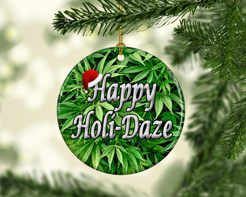 Marijuana Pot Leaf Porcelain Christmas Ornaments Happy image 0
